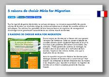5 raisons de choisir Miria for Migration